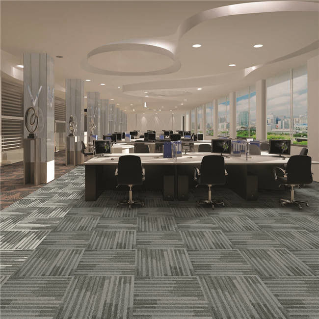 Office Project Hotel Carpet Tiles Cut Loop PP With Cushion Backing Carpet Tile