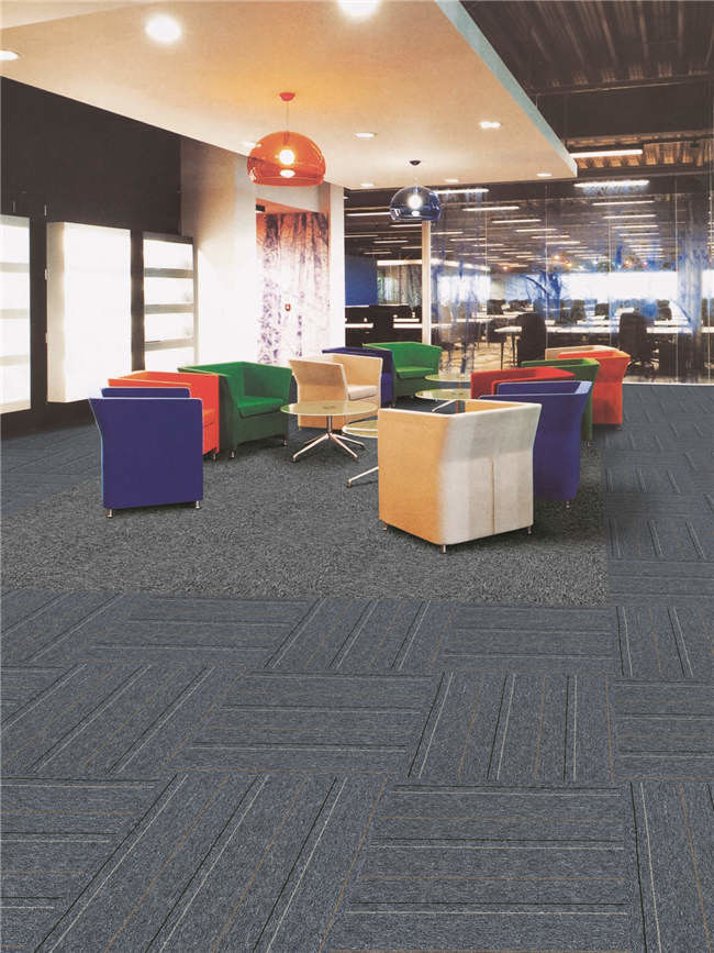 Solution Dyed Method Commercial Modular Carpet Tiles Pvc With Fiberglass Tile Backing